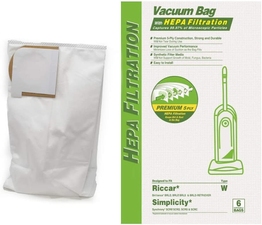 DVC HEPA Cloth Replacement Bags Type W Fits Simplicity Synchrony and Riccar Brilliance Models, 6 Bags