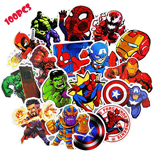 Laptop Stickers for Kids(100pcs),Superheros Stickers for Water Bottles,Vinyl Stickers for Laptop Skateboard Luggage Decal Graffiti Patches Stickers in Bulk -
