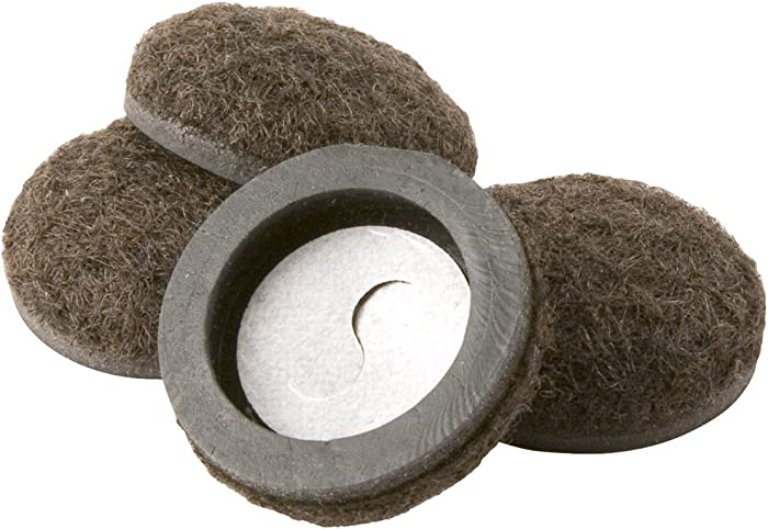 Super Sliders 4334495N Formed Felt Furniture Movers For For Hard Surfaces, 1-1/2 Inch, Brown, 4 Piece