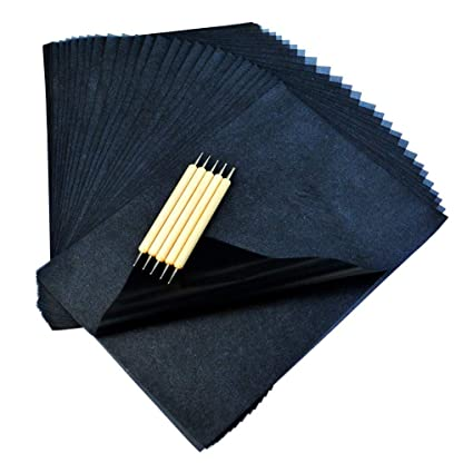 Poualss - 120 hojas de papel de carbón brillante para dibujar con ...