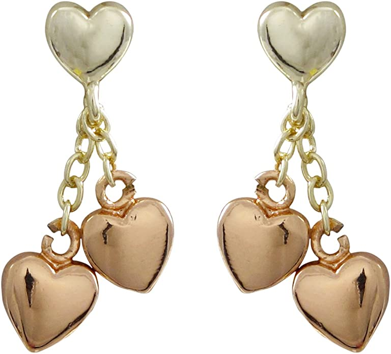 Ivy and Max Two-tone Finish Girls Heart Dangle Earrings