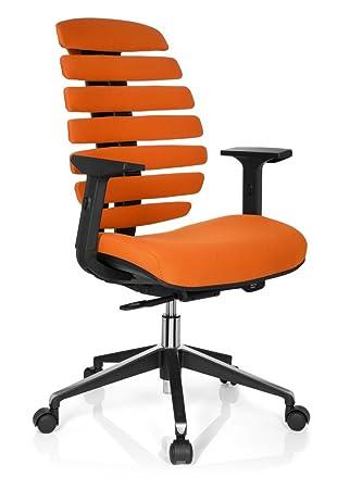 Hjh OFFICE 714520 Chaise De Bureau Fauteuil ERGO LINE II Orange Avec Accoudoirs Pour Un
