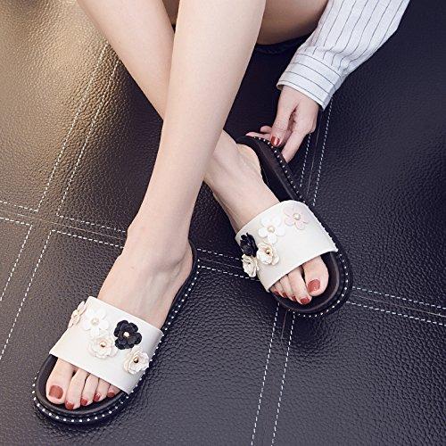 fankou pantofole bella elegante piatta spessa bianco interni antiscivolo fresca 36 a plastica casa in estate 35 pantofole Onorevoli grAzqg