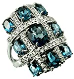 Sterling Silver 925 STATEMENT Ring LONDON BLUE TOPAZ and WHITE TOPAZ 9.78 Cts with RHODIUM-PLATED Finish, CLUSTER Style (8)