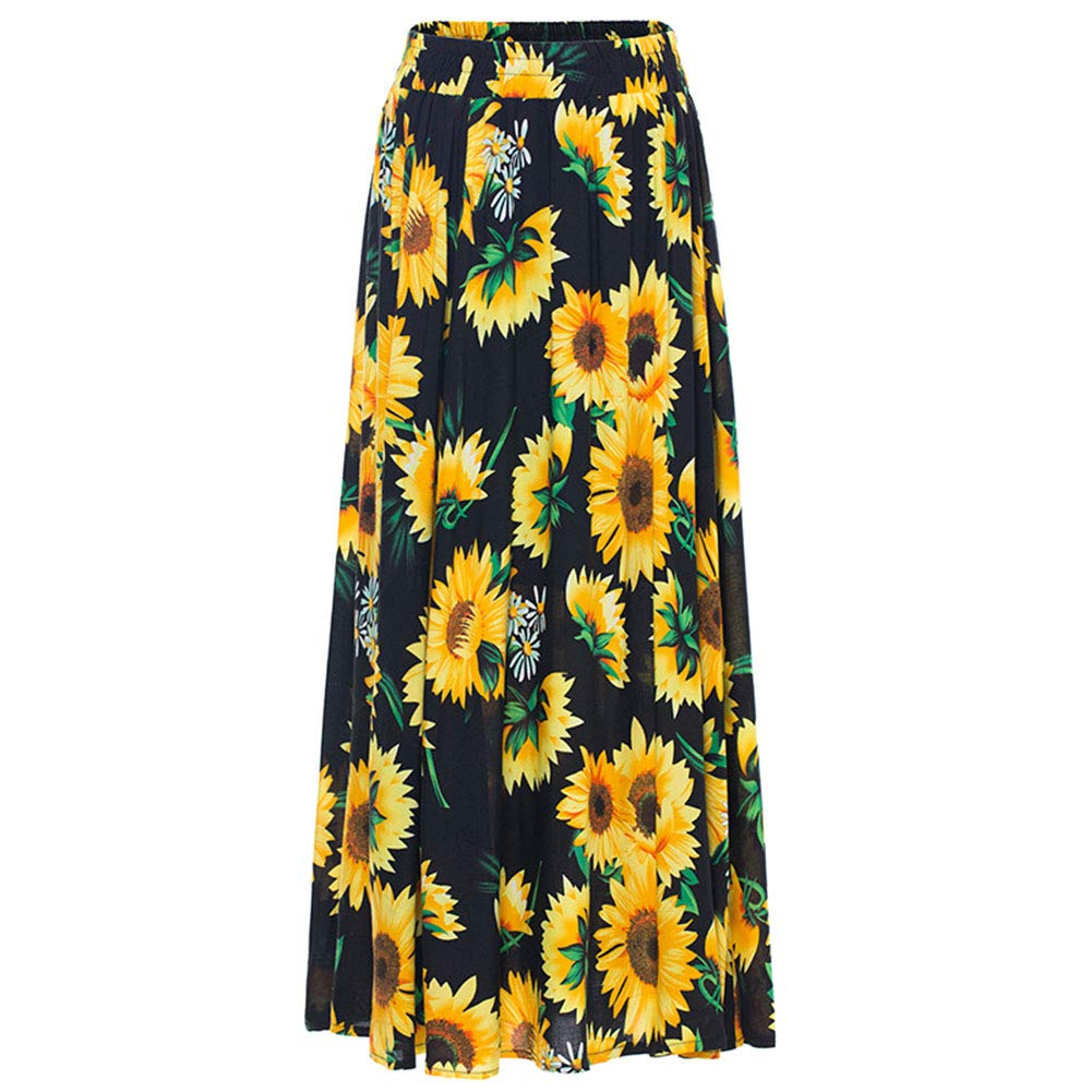 eacc29150b81 MyMei Women's Elegant Skirt Full Length Sunflower Printing Pleated Long  Maxi Skirt Dress: Amazon.in: Clothing & Accessories