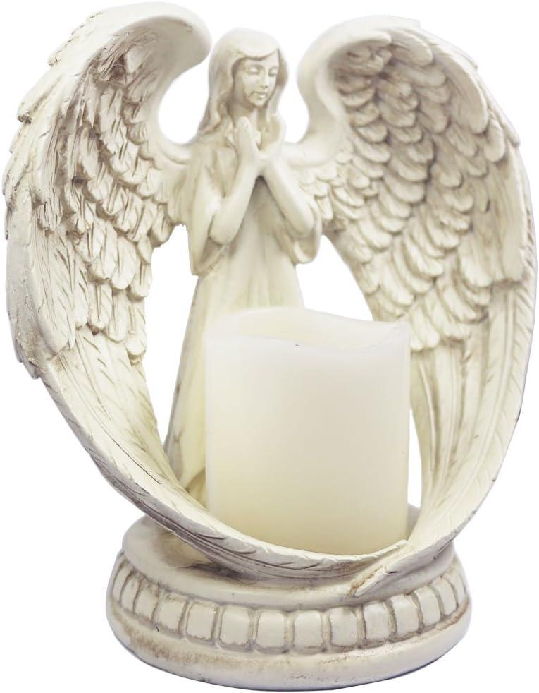 Amazon Com Kiaotime 6 Tall Small Praying Angel Figurine Wings Angel Flamless Candle Holder Angel Figurine Sculpture Statue Decorative Home Wedding Christmas Church Baptism Angel Collection Figurine Home Kitchen