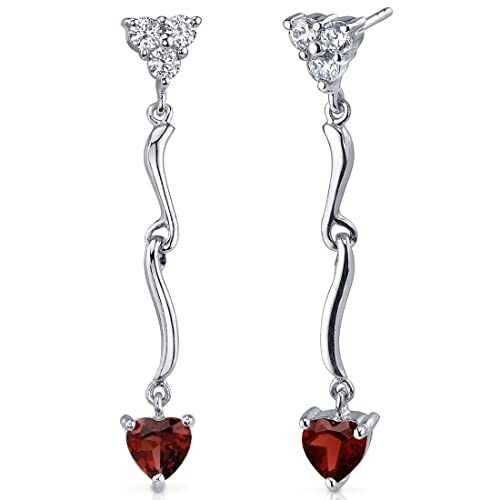 2.00 Carats Garnet Heart Dangle Earrings Sterling Silver Rhodium Nickel Finish