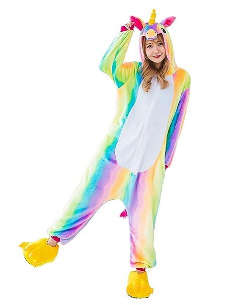 CozofLuv Pijama Animal Unicornio Entero para Adultos Pijama Mono Animal para Mujer Hombre Disfraz para Navidad