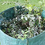 GardenMate 15-Pack 80 Gallons Professional Reusable Garden Waste Bags (H33, D26 inches) - Yard Waste Bags with Double Bottom