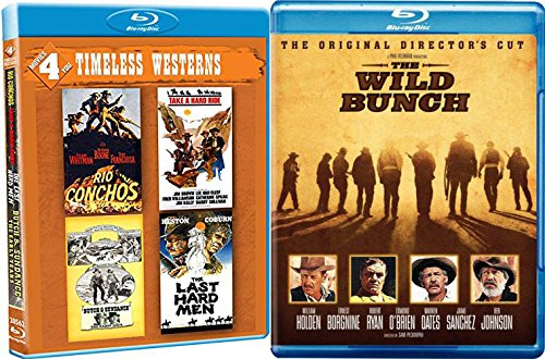 """Wild Wild Westerns Blu Ray 5 Pack: The Wild Bunch/ Rio Conchos/ Butch and Cassidy """"The Early Years""""/ Take A Hard Ride/ The Last Hard Men 5 Feature Film Blu Ray Bundle"""