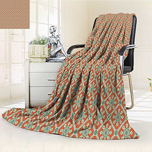 YOYI-HOME Luxury Double-Sides Reversible Fleece Duplex Printed Blanket Leaves and Petals Symbolic Dotted Artwork Old Fashioned Orange Reseda Green Travelling and Camping Blanket /W47 x H69
