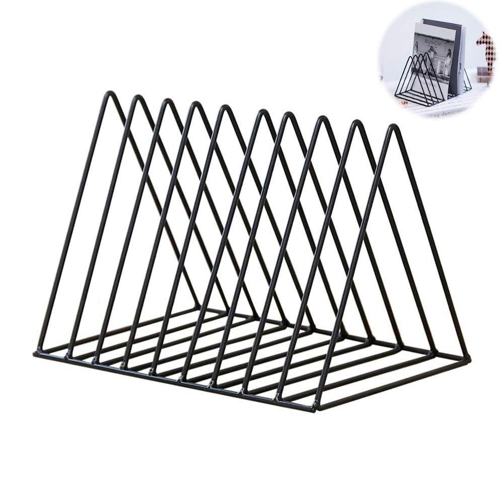 Magazine Rack Book Record Holder, Desktop Iron Storage Rack Bookshelf Multifunction Triangle File Organizer Decor Home Office (Black) by HongDream