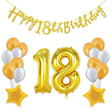 40 Inch Gold 18th Birthday Number Balloon With Happy Banner And Latex Balloons Star