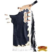 HILASON BLACK BULL RIDING SOFT SMOOTH LEATHER RODEO WESTERN CHAPS
