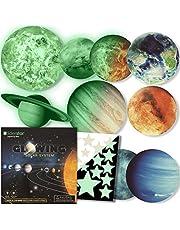 Leuchtende Sterne und Planeten, Wandsticker für Kinder,:Sonnensystem -9 glühende Aufkleber :SONNE, ERDE..Aufkleber die das Schlafzimmer ihres Kindes beleuchten Fluoreszierend und im Dunkeln leuchtend