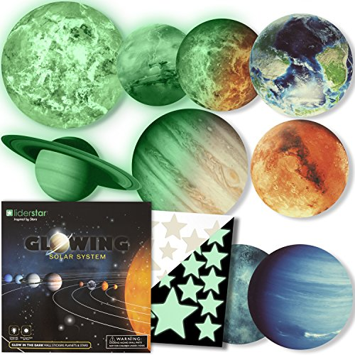 Glow in The Dark Stars and Planets, Bright Solar System Wall Stickers -Sun Earth Mars and so on,9 Glowing Ceiling Decals for Bedroom Living Room,Shining Space Decoration for Kids for ()