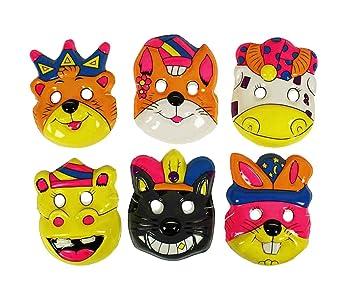 HAAC – Juego de 6 Máscara Máscaras para niños y Adultos Color Multicolor Halloween con Motivos
