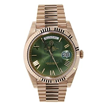 3c203ceb8449 Amazon.com  Rolex Day-Date 40 President Everose Gold Watch 228235 60th  Anniversary Green Dial  Watches