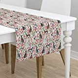 Table Runner - Italian Greyhound Dog Dogs Florals Floral Pet Pets by Petfriendly - Cotton Sateen Table Runner 16 x 90