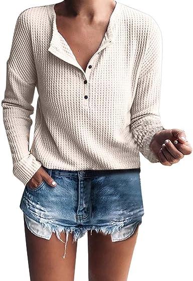 JURTEE Camiseta para Mujer Solid Color Cuello En V Blusa De ...