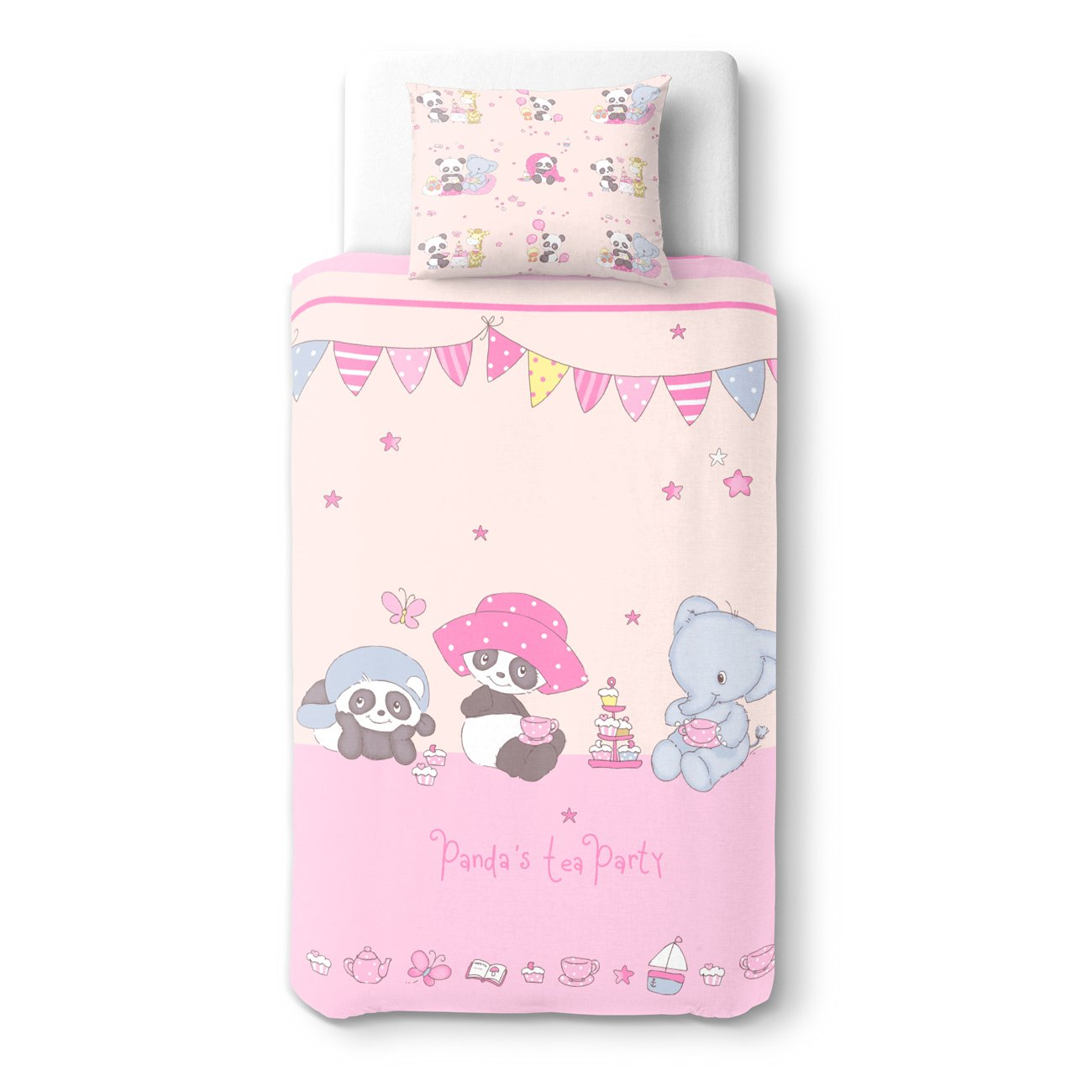 Baby Panda's Tea Party - SoulBedroom 100% Cotton Bed Set (Duvet Cover 39x 55 cm & Pillow Case 15x 23 cm)