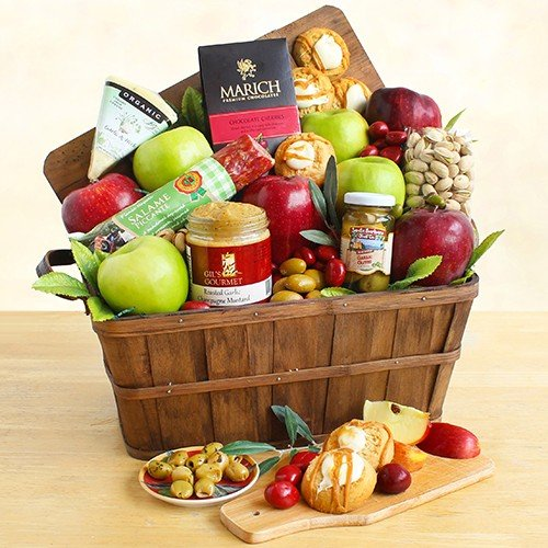 Autumn Harvest Fruit and Cheese Gift Crate by The Gift Basket Gallery