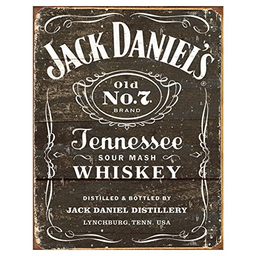 (signs-unique MS1916 Jack Daniel's-Weathered Logo Tin Sign 13 x 16in,)