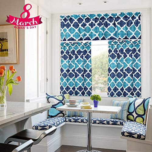 (Moroccan Kitchen Curtains, Valances and Tiers 3 pcs Set, Linen Look Geometric Trellis Print Bathroom Curtains/Cafe Small Window Curtain Set Beige Quatrefoil Kitchen Curtain, Rod Pocket, 36