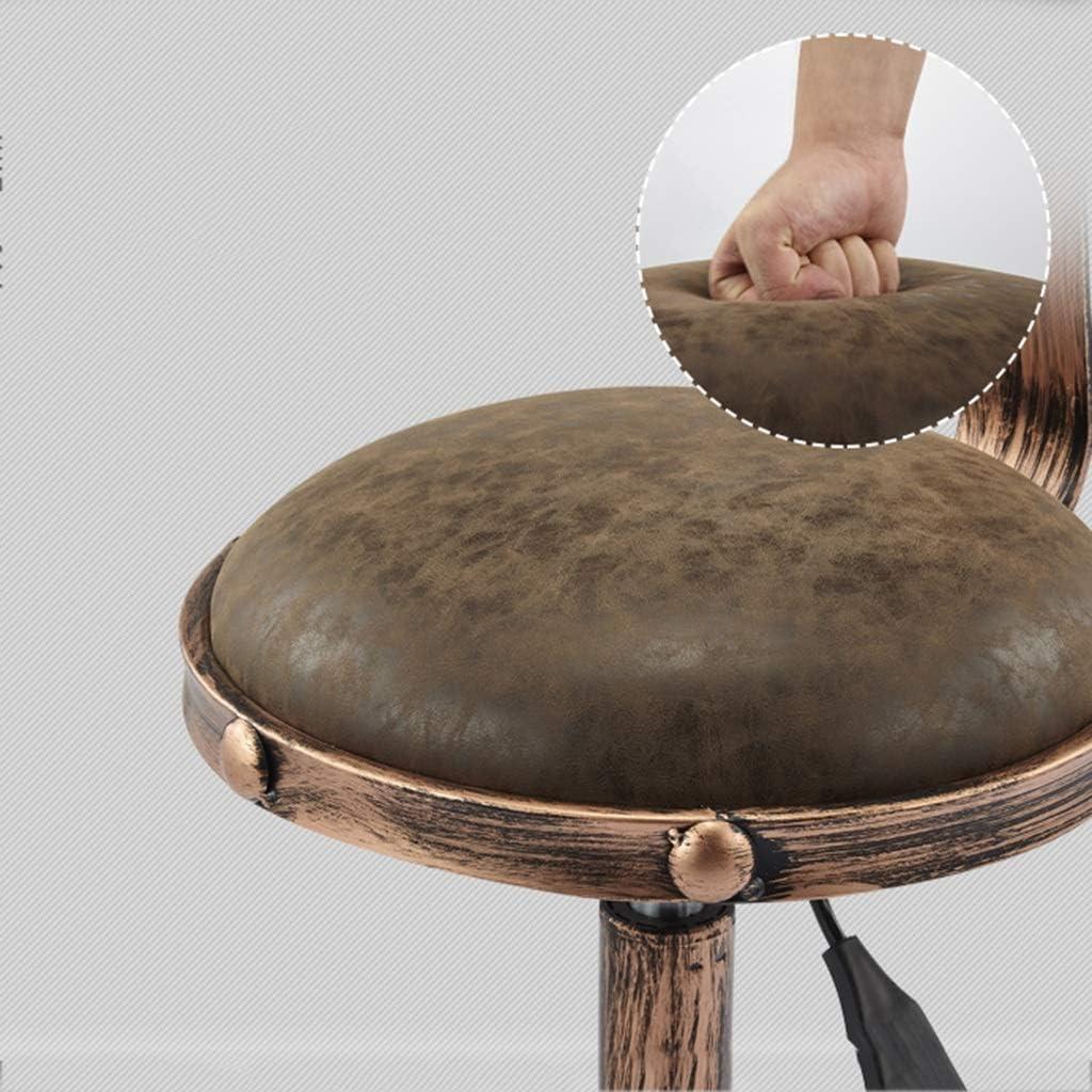 LAOMAO Silla extraíble de Altura Ajustable Retro, peluquería para el hogar Silla Alta para Adultos de Taburete Alto para Adultos 32 * (50-64) CM B E
