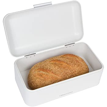 Large White Bread Box - Countertop Bread Bin Storage