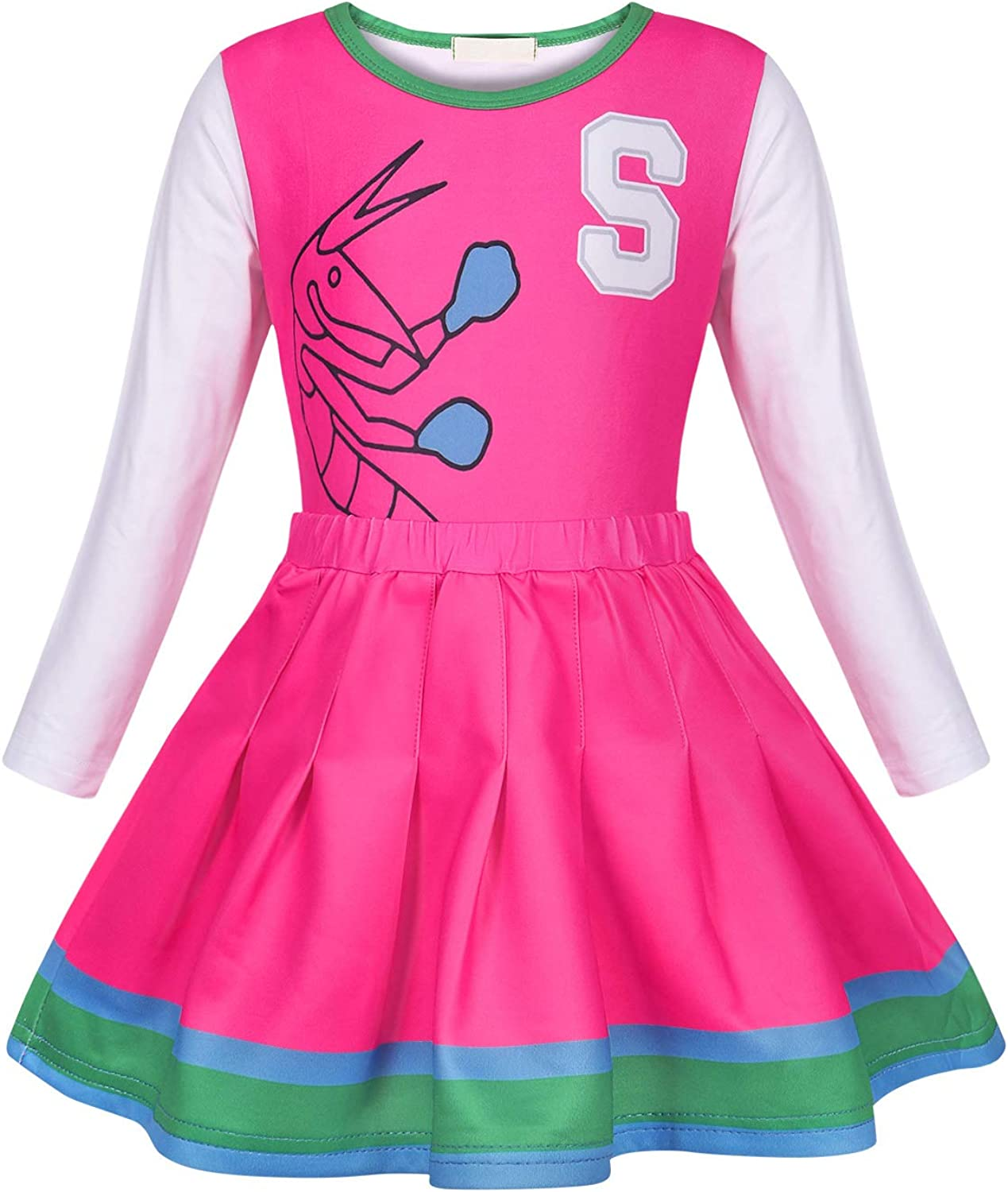 MetCuento Cheerleader Costume for Girls Kids Role Play for Party Dress up Halloween Performance Outfit Pom Poms Hair Rope