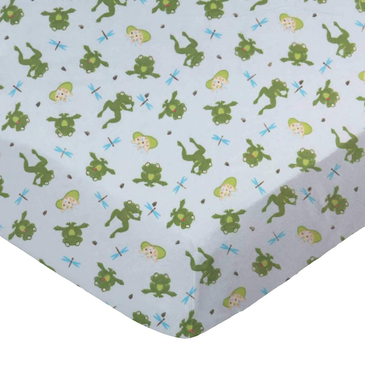 SheetWorld Fitted 100% Cotton Flannel Pack N Play Sheet Fits Graco Square Play Yard 36 x 36, Frogs n Pods, Made in USA