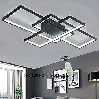 Luminaire LED Plafonnier Dimmable Salon Lampe Plafond Avec Telecommande,  Moderne Chambre Carré Acrylique Ombre Aluminium