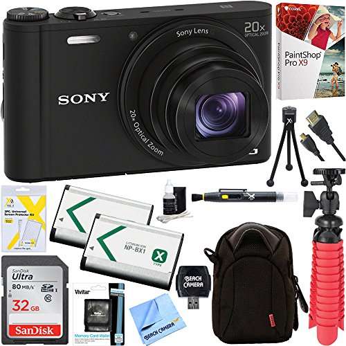 Compact Optical Camera Battery (Sony Cyber-shot WX350 Compact Digital Camera with 20x Optical Zoom (Black) + 32GB SDHC Memory Dual Battery Kit + Accessory Bundle)