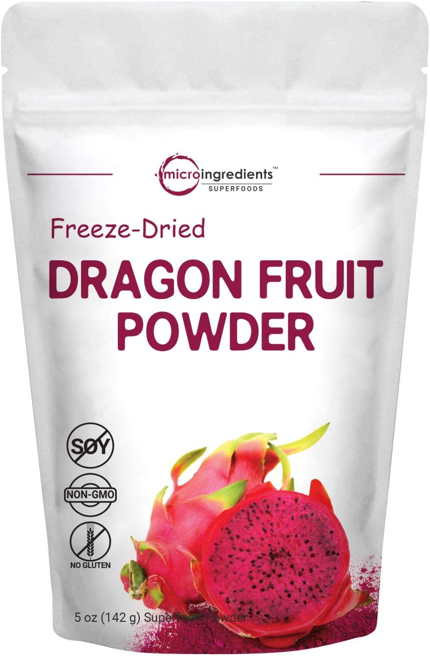 Pure Freezed Dried Dragon Fruit Powder, 5 Ounce, Natural Superfood for Baking, Beverage, Smoothie and Food Coloring, Non-GMO and Vegan Friendly