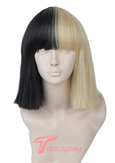 Womens Wig Blonde And Black Two Tone Hair Short Straight Cosplay Halloween Wigs With Free