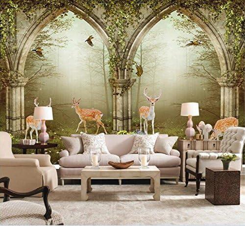 Weaeo 3D壁紙カスタム壁画不織壁ステッカー壁の3D 3Dミルジカ森林設定壁装飾壁紙-280X200Cm