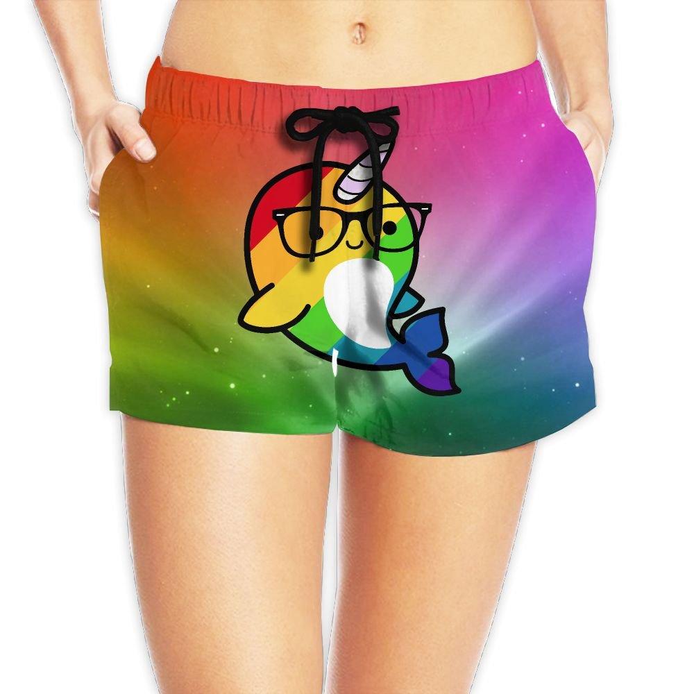 Louise Morrison Funny Rainbow Gay Narwhal Sunglass Women's Boardshort Swim Trunks Beach Shorts