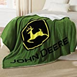John Deere Logo Thick Sherpa and Fleece Green Blanket