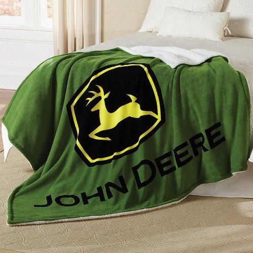 John Deere Logo Thick Sherpa and Fleece Green Blanket