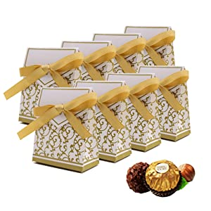 Candy Boxes, Gift Boxes with Gift Ribbons Candy Bag Cake Box for Wedding Party Decoration Easter, Gold, 50 PCS