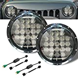 Motorcycle 7inch LED Headlight Round H4 for Harley Davidson Jeep Wrangler DRL High Low Beam Projector Daymaker Black