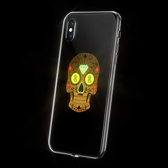 big sale d7c72 98d7d LED Light Up Case iPhone X, WILLGOO Music-Activated Flashing iPhone Case  Self Expression, Protective Phone Cover (Skull)
