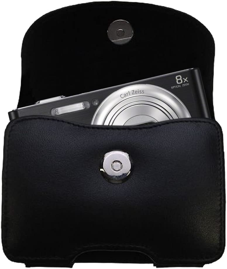 DSC-W730 Gomadic Belt Mounted Leather Case Custom Designed for The Sony Cybershot W730 Black Color with Removable Clip