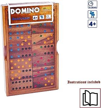 LOGICA GIOCHI Art. Domino Clasicos - Juego de Mesa de Madera Preciosa - Juego de Estrategia para 2-4 Jugadores - Version de Viaje: Amazon.es: Juguetes y juegos