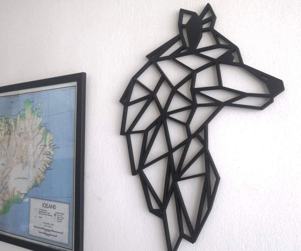Art Mural Animaux Origami Fotodekora T/ête de Loup Sculpture de Lignes Noires /à accrocher au Mur Design g/éom/étrique