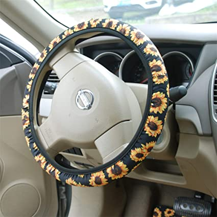 amazon com bling buy handmade sunflower steering wheel cover blamazon com bling buy handmade sunflower steering wheel cover bl stretch on fabric steering wheel cover universal fit automotive