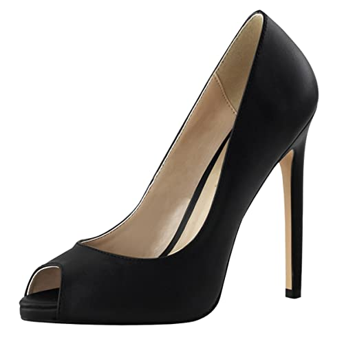 Summitfashions Womens Black Stiletto Heelsp Toe Pumps Black Leather Shoes 5 Inch Heels Size