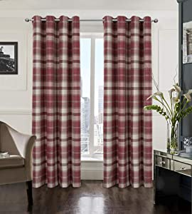 Alexandra Cole Plaid Farmhouse Curtains for Living Room Bedroom Tartan Grommet Window Treatments 2 Panels 54x63 Red