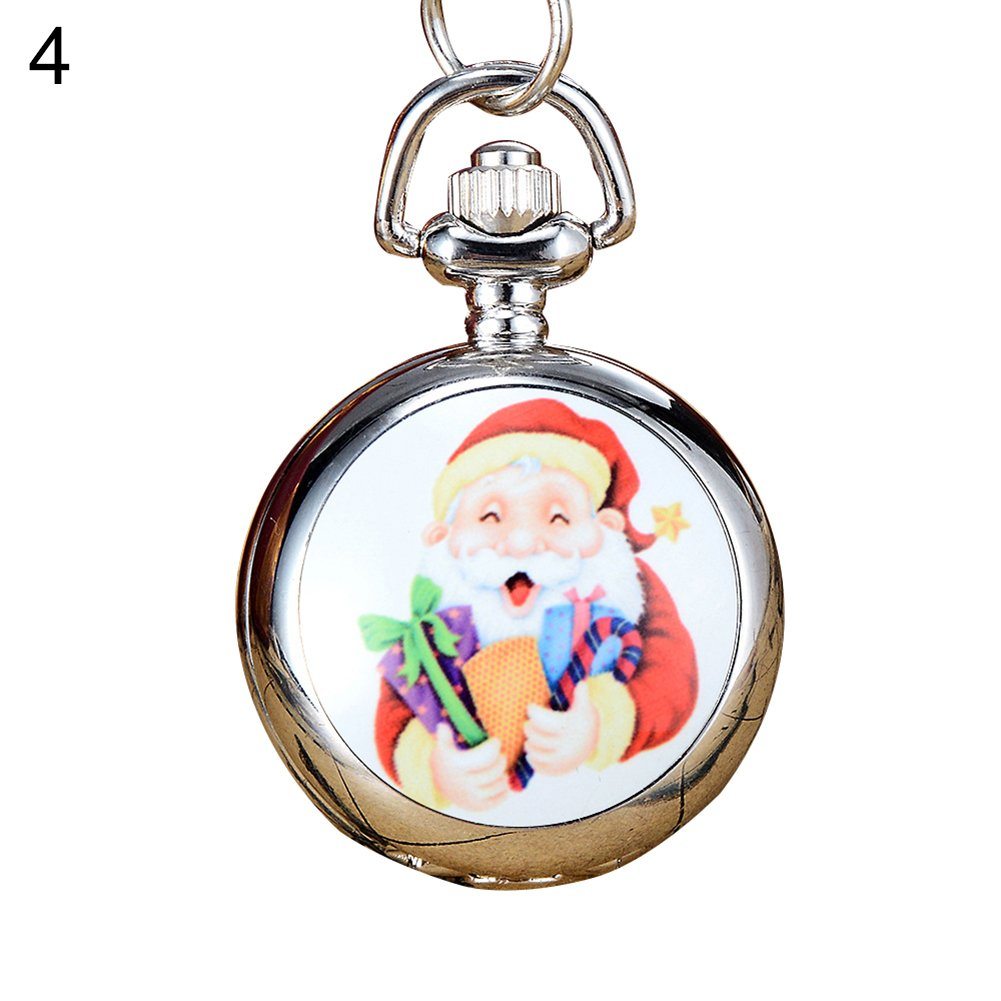 Snowman Christmas Tree Santa Claus Xmas Child Fancy Party Pocket Watch Gift